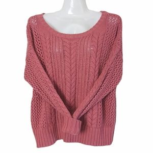 American Eagle Cable Knit Sweater Pink M